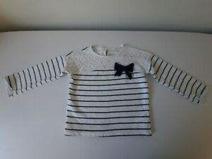 Pull T-Shirt manches longues YD 3 ans 100 % Coton Bleu/Blanc Rayures Nœud