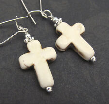 STERLING SILVER EARRINGS CROSS Howlite Agate Stone Dangle Drops Christian