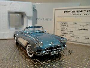 DANBURY MINT 1959 CHEVY CORVETTE..1:24..RARE COLOR..TITLE..NOS..UNDISPLAYED