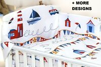MARINE Baby GIRL BOY 3,4 PC SET COT - COT BED NURSER BABY SET- BUMPER, COVERS