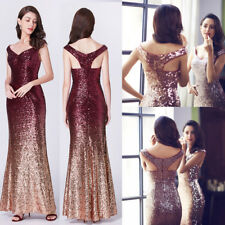 Hot Women Sequins Long Mermaid Bridesmaid Dresses Evening Prom Party Dresses