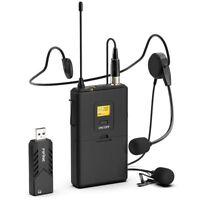 Fifine K031B USB Wireless Microphone System w/ Headset Clip Lavalier Lapel Mics