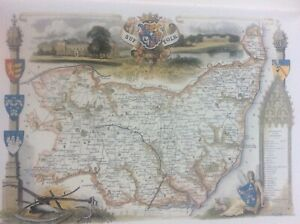 """Suffolk Antique Colour Map Thomas Moule County Maps of Old England 14"""""""
