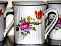 11pc JLMENAU Graf Von Kenneberg Porcelain Ribbed Cups Mugs Germany