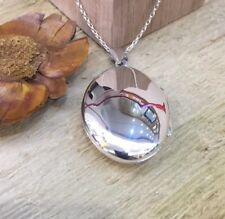 Solid 925 Sterling Silver Oval Plain Photo Locket Pendant Necklace Inc Chain