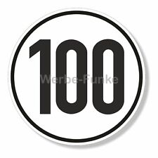 1 Aufkleber 100 km/h Geschwindigkeit 20 cm Sticker Geschwindigkeitsschild S