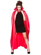 Gothic Red Satin Long Cape Vampire Cloak Halloween Accessory Mens Ladies Collar