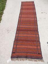 2x10ft. Striped Tribal Afghan Flatweave Wool Runner