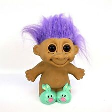 """Russ Troll Bunny Green Slippers Doll Purple Hair Needs Cleaning 4"""" Toy"""