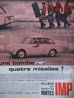 PUBLICITÉ DE PRESSE 1964 HILLMAN UNE PRODUCTION ROOTES IMP - ADVERTISING