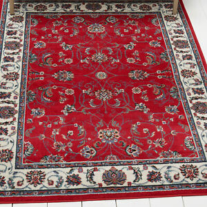 Red Bordered Modern Area Rug Square Floral Carpet - Approx. Size 1'9'' x 2'11''