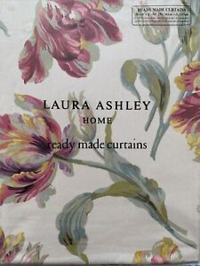 "Laura Ashley Gosford Cranberry Curtains 162cm x 137cm (64""x54"") Tulips Red"