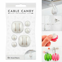 Cable Candy Cord Management & Cable Organizer Mixed Beans (6x) - White