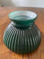 """Vtg Green Ribbed Case Glass Oil Kerosene Student Lamp Shade 5 3/4"""""""