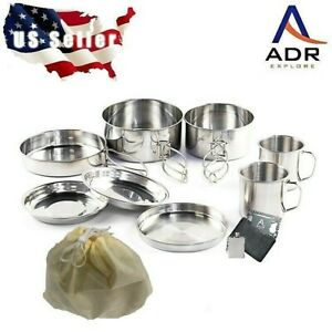 10 piece stainless steel camping, hiking, backpacking, picnic cookware set.