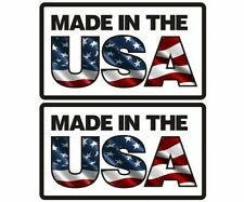 """2 - 4""""x2.3"""" Made in the USA Decal SET Flag United States Vinyl Sticker American"""