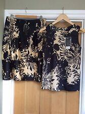 New - Top shop Matching Skirt & Top/Navy & Gold/Top Size 8-Skirt Size 10