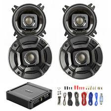"4X Polk Audio 4"" Speakers Black, Polk PA330 330W 2-Ch Car Amp, Wiring Kit"