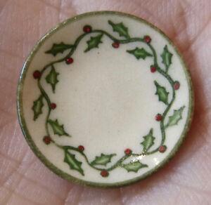 IGMA Artisan Jane Graber Miniature Stoneware Holly Dinner Plate: 1:12 Scale