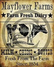 Primitive Cow Dairy Farm Milk Cheese Butter Print 8x10