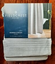 CLASSIC MODERN FIELDCREST GREY GRAY STRIPE PLEAT SHOWER CURTAIN 72 x 72