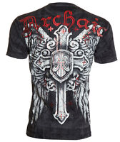 ARCHAIC by AFFLICTION Men T-Shirt EXALT Cross Wings Motorcycle Biker MMA $40
