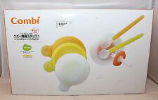 Combi Japanese Baby Label Tableware Feeding Step1 7pc Set Spoon Bowl Fork Japan