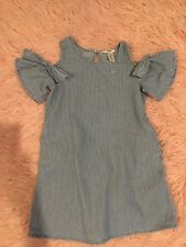 Guess Girls Dress size S 7/8 Open Shoulder Chambray Striped Pockets