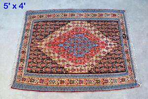 Vintage Handmade Kilim Rug Organic Dye Senneh Flat Weave Hand Woven Handwoven