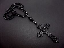 A LOVELY   LARGE BLACK CROSS/CRUCIFIX NECKLACE. GOTH. NEW.
