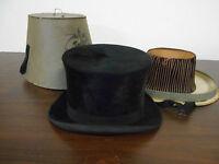 ANTIQUE VINTAGE 1880-90'S FEILER BERLIN MAN'S BLACK TOP HAT WITH BOX