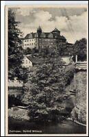 Zschopau Sachsen DDR Postkarte 1947 Partie am Schloß Wildeck Fluß Bäume gelaufen