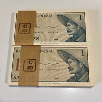 Vintage Bank of Indonesia UNC Banknote Bundle Pack of 100 1964 1 Sen Pick 90