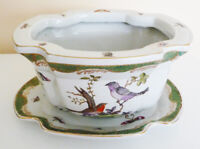 Vtg Chinese Reproduction of Herend Rothschild Bird Pattern POT PLANTER w/saucer