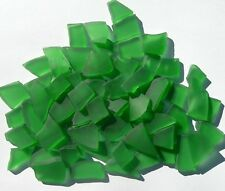 Tumbled Like Sea Glass Emerald Green 75 Glass Mosaic Tiles, Craft, Jewelry