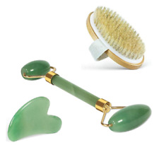 100% Real Jade Roller, Gua Sha and Natural Dry Brush Tools Set - Authentic Gemst