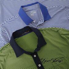 LOT x2 Polo Ralph Lauren RLX Performance Golf Stripe Microfiber Stretch Shirt L