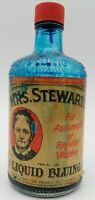 Vintage Mrs Stewarts Liquid Bluing 60's 10oz Bottle Luther Ford Products ink pen