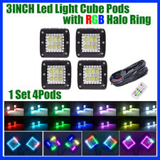 """4x 24W LED Work Light Bar 3"""" Flood Cube Pods with Chasing RGB Halo & Wiring"""