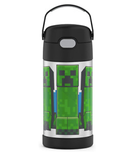THERMOS Minecraft 12 oz FUNTAINER Water Bottle With Straw Safe BPA-Free