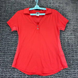 The North Face Vapor Wick Vented Side Pouch Red Henley Active Top Womens Large