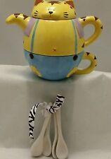 Fat Cat Tea Pot Cup Ceramic Spoons Stacker