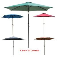 9' FT Patio Umbrella Outdoor Market Umbrella Steel Tilt With Crank Beach Garden