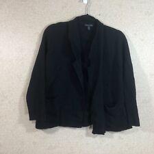 Eileen Fisher Women'S Size M Cropped Boxy Cardigan Sweater Pockets Wool Black