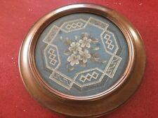 antique victorian Beadwork Plaque