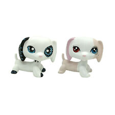 2pcs White Dachshund OOAK LPS Dog Littlest Pet Shop Blue Dot Different Eyes