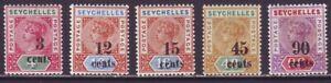 Seychelles 1893 SC 22-26 MH Set Surcharge