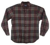 Sir Pendleton Virgin Wool Button Down Shirt Red Plaid Front Pocket Mens Large L