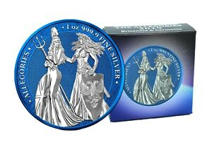 The Allegories 2019 Britannia & Germania 1 oz 999 Silber Space Blue Edition