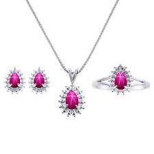 Diamond & Star Ruby Matching Earrings, Pendant Necklace and Ring Set In Sterlin